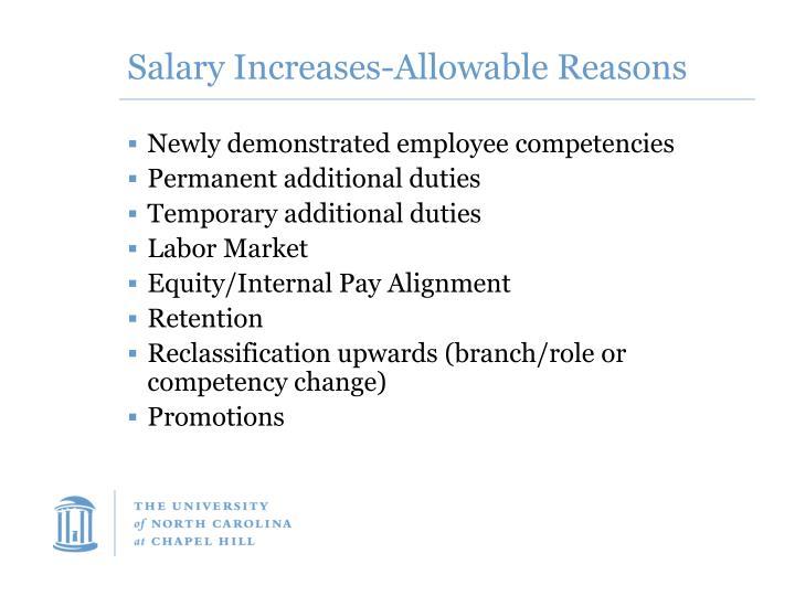 Salary Increases-Allowable Reasons