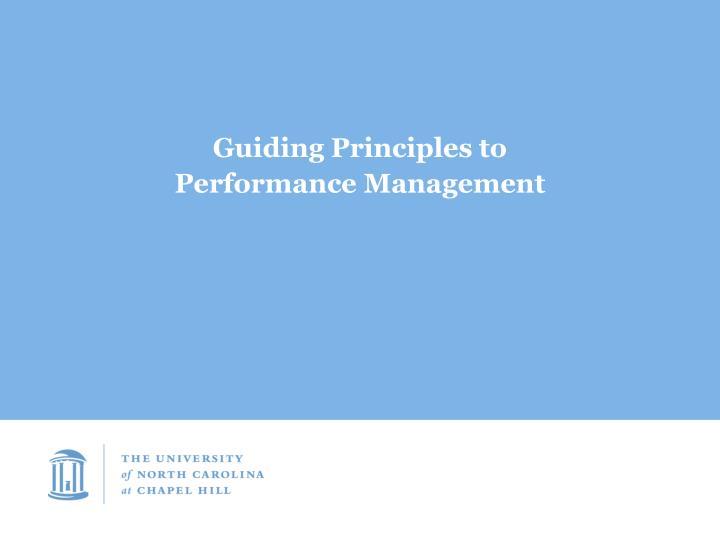 Guiding Principles to