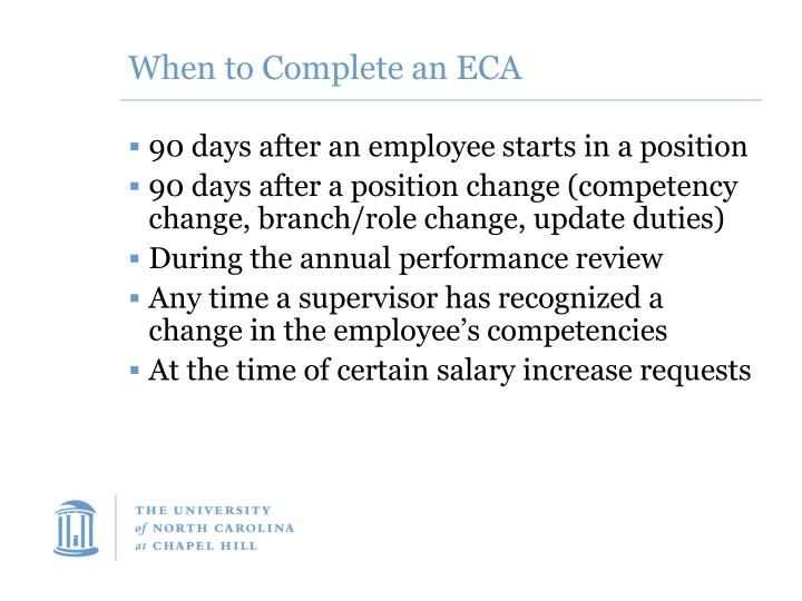 When to Complete an ECA