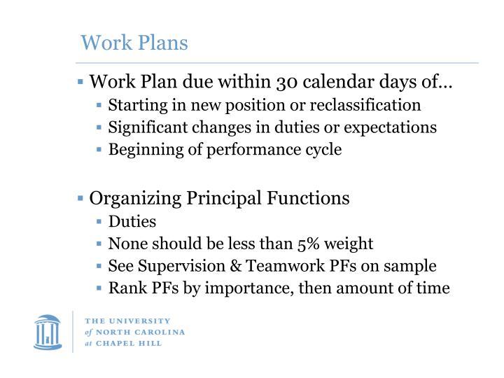 Work Plans