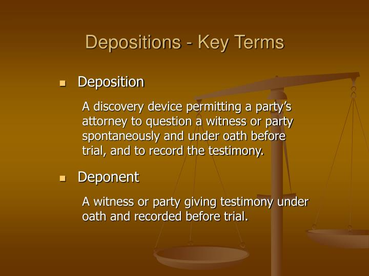 Depositions key terms