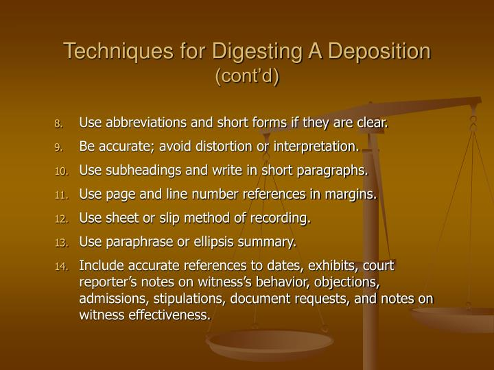Techniques for Digesting A Deposition
