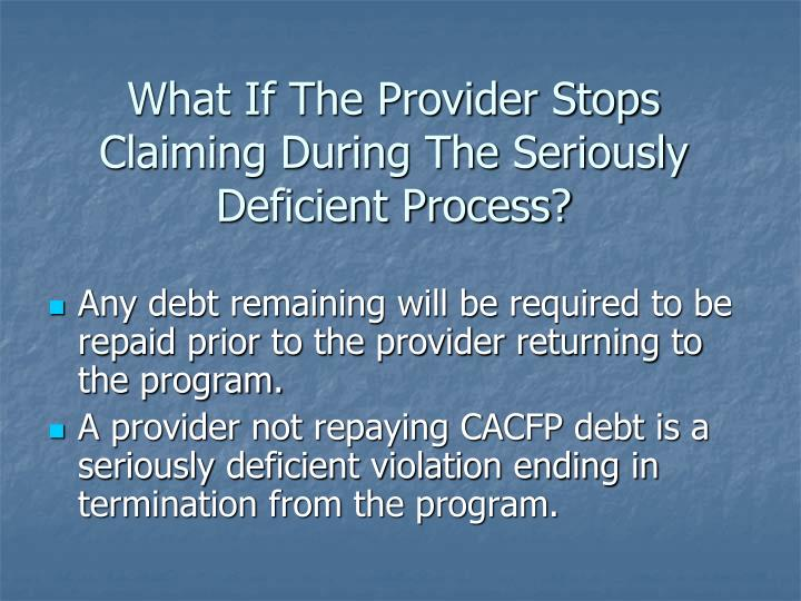 What If The Provider Stops Claiming During The Seriously Deficient Process?