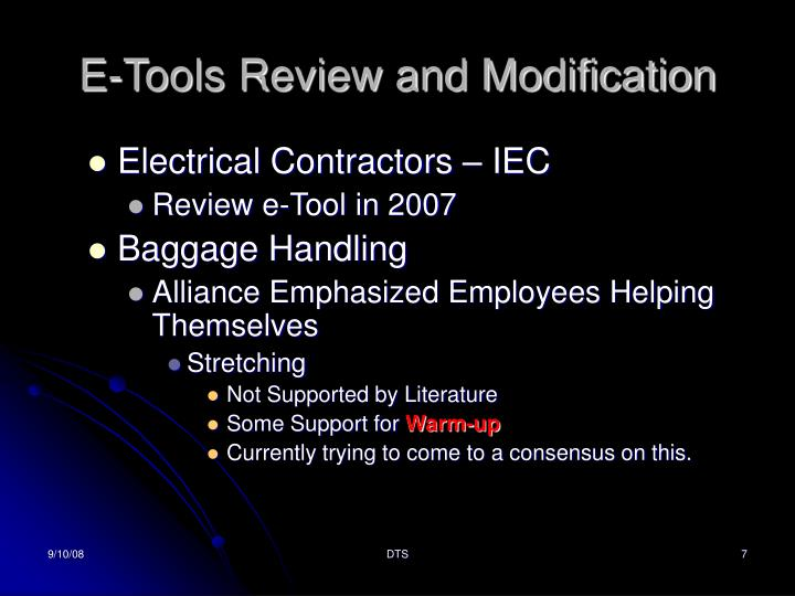 E-Tools Review and Modification