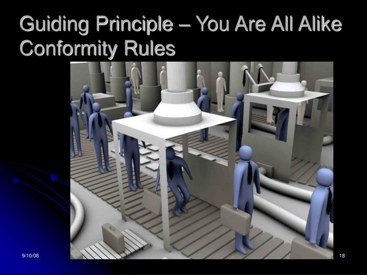 Guiding Principle – You Are All Alike Conformity Rules
