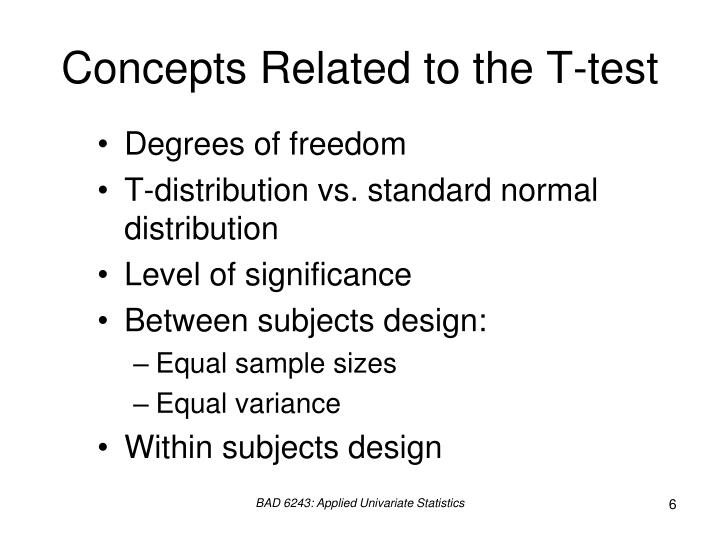 Concepts Related to the T-test
