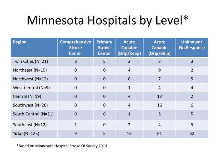 Minnesota Hospitals by Level*
