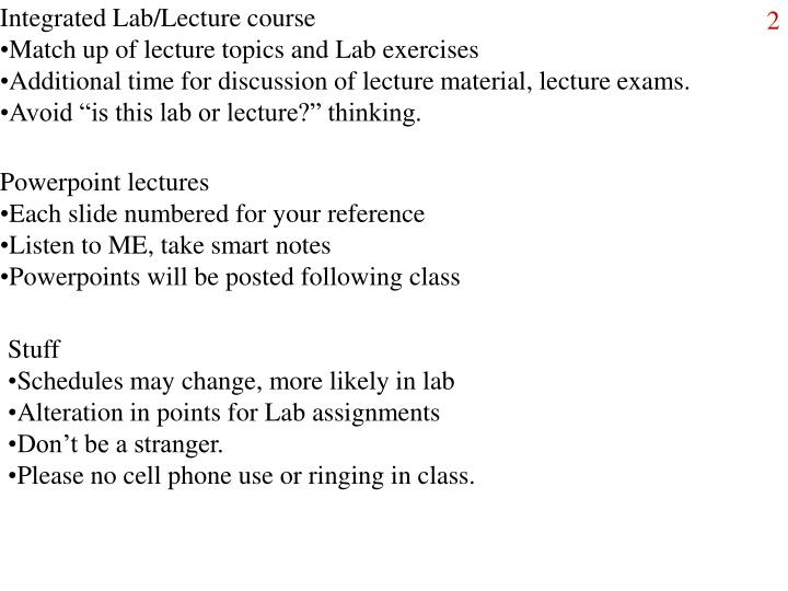 Integrated Lab/Lecture course