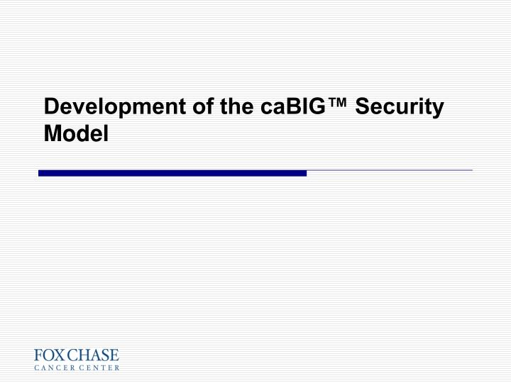 Development of the caBIG™ Security Model