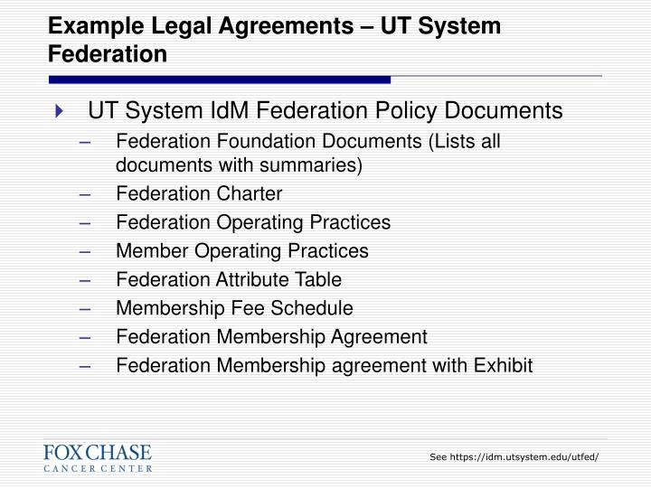 Example Legal Agreements – UT System Federation
