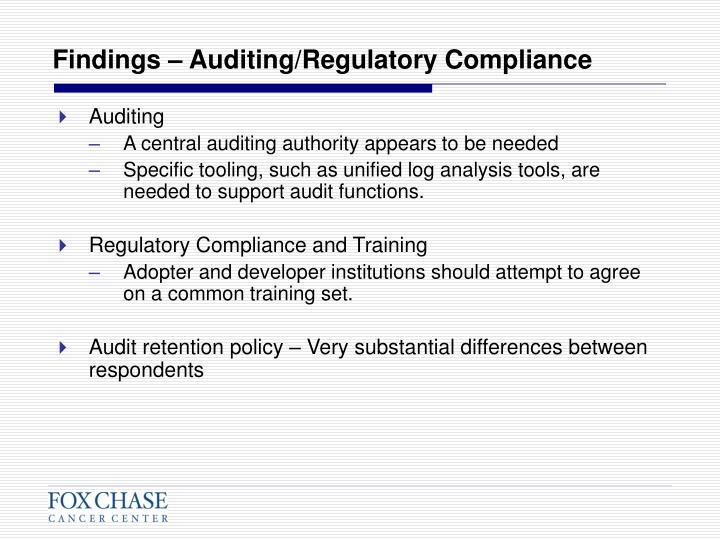 Findings – Auditing/Regulatory Compliance