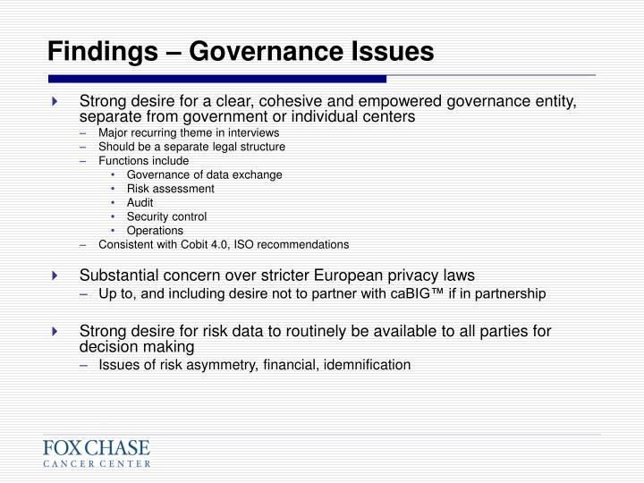 Findings – Governance Issues