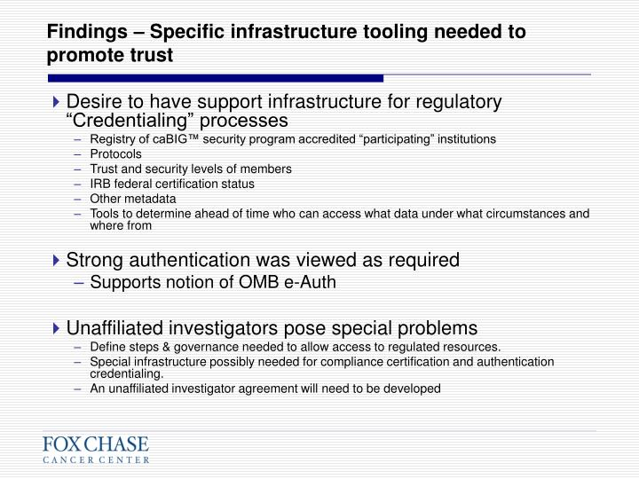 Findings – Specific infrastructure tooling needed to promote trust