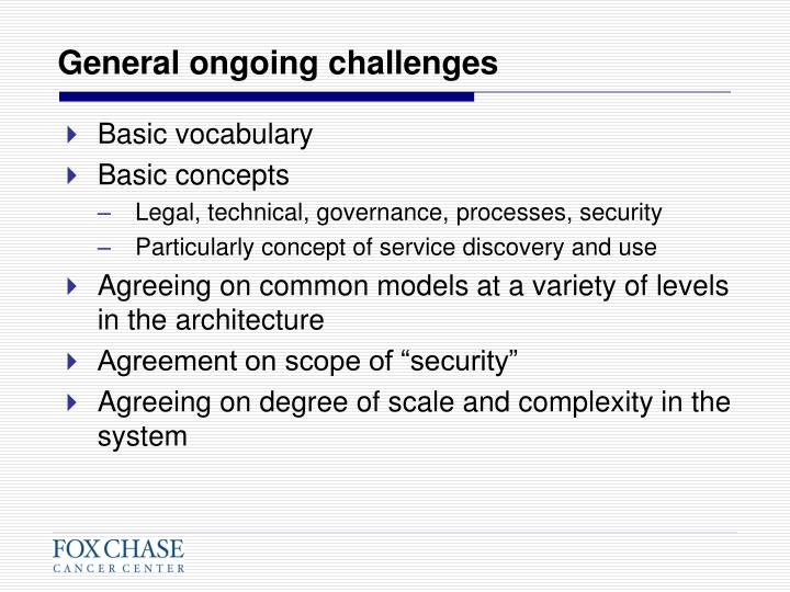 General ongoing challenges