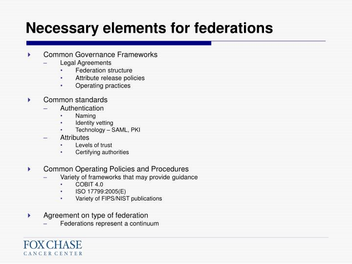 Necessary elements for federations