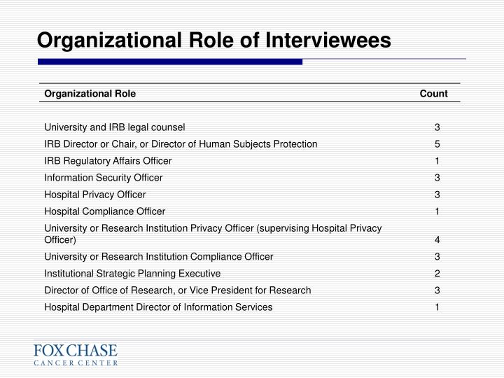 Organizational Role of Interviewees