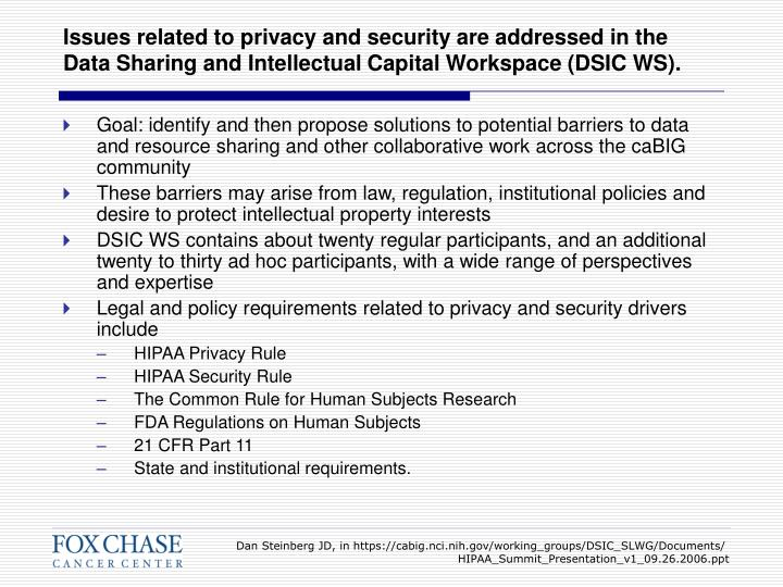 Issues related to privacy and security are addressed in the Data Sharing and Intellectual Capital Workspace (DSIC WS).