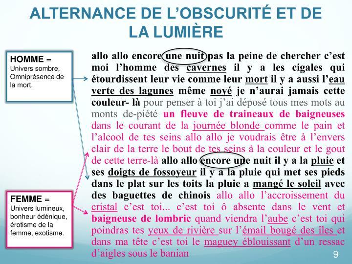 ALTERNANCE DE L'OBSCURITÉ ET DE LA LUMIÈRE
