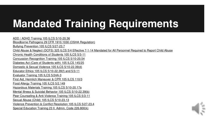 Mandated Training Requirements
