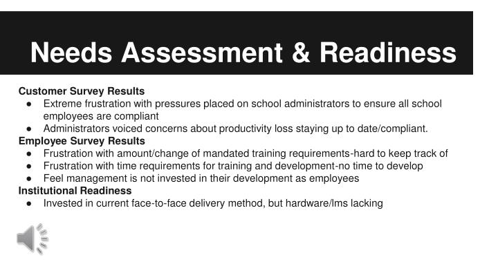 Needs Assessment & Readiness