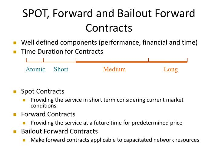 SPOT, Forward and Bailout Forward Contracts