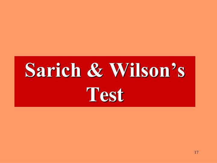 Sarich & Wilson's Test