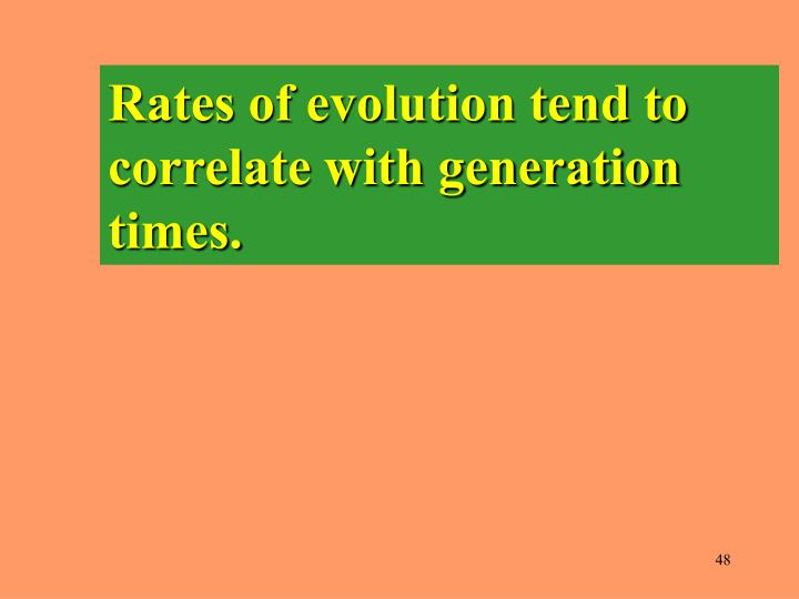 Rates of evolution tend to correlate with generation times.