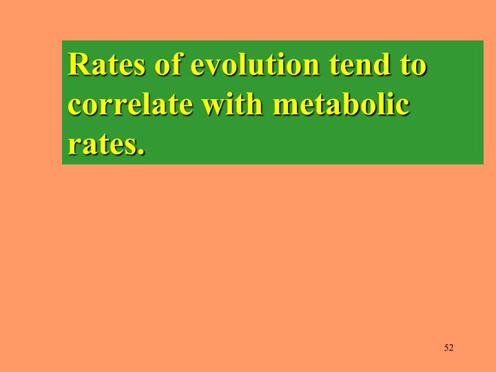 Rates of evolution tend to correlate with metabolic rates.