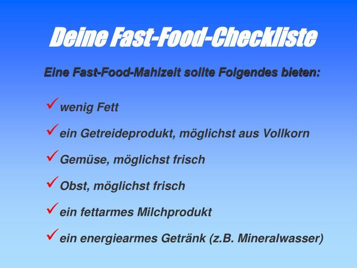 Deine Fast-Food-Checkliste