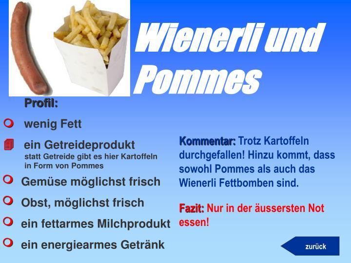 Wienerli und Pommes
