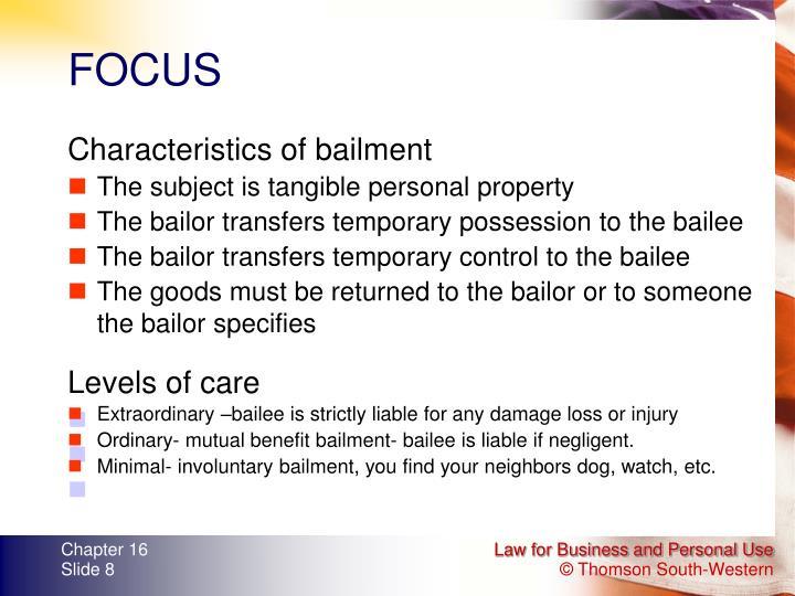 Characteristics of bailment
