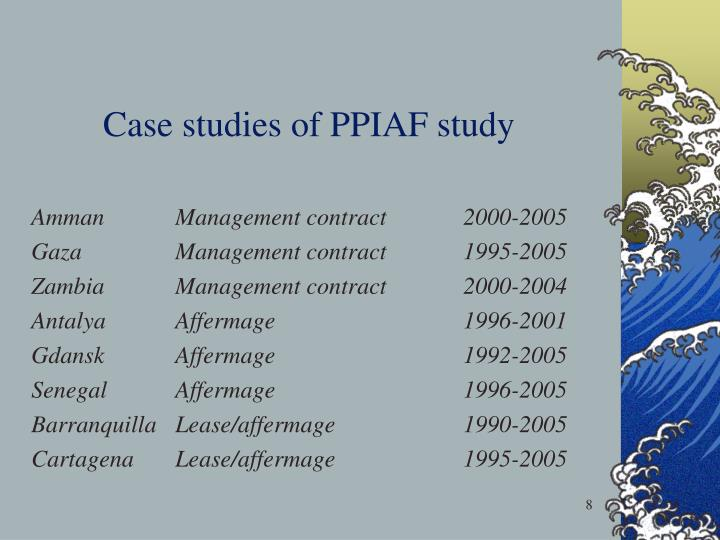 Case studies of PPIAF study