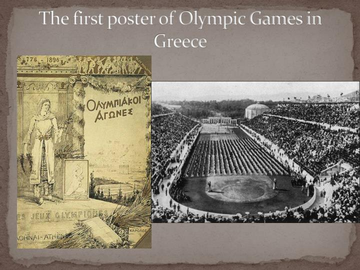 The first poster of Olympic Games in Greece