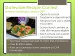 statewide recipe contest entries needed by march 29 th