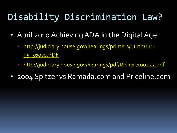 Disability Discrimination Law?