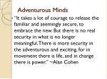 adventurous minds