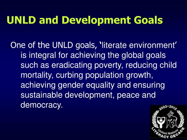 UNLD and Development Goals