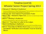timeline cont d wheeler senior project spring 2013