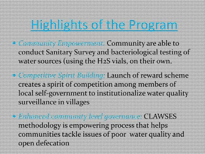 Highlights of the Program
