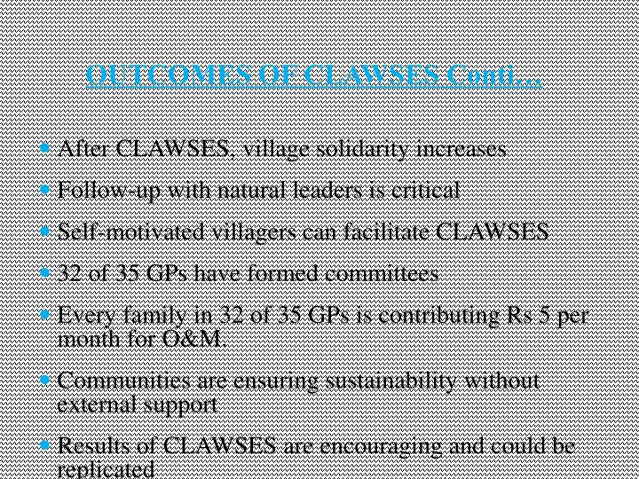 OUTCOMES OF CLAWSES Conti…