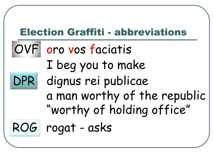 Election Graffiti - abbreviations