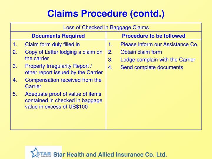 Claims Procedure (contd.)