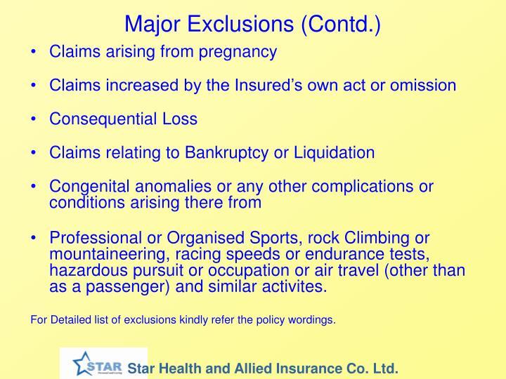 Major Exclusions (Contd.)