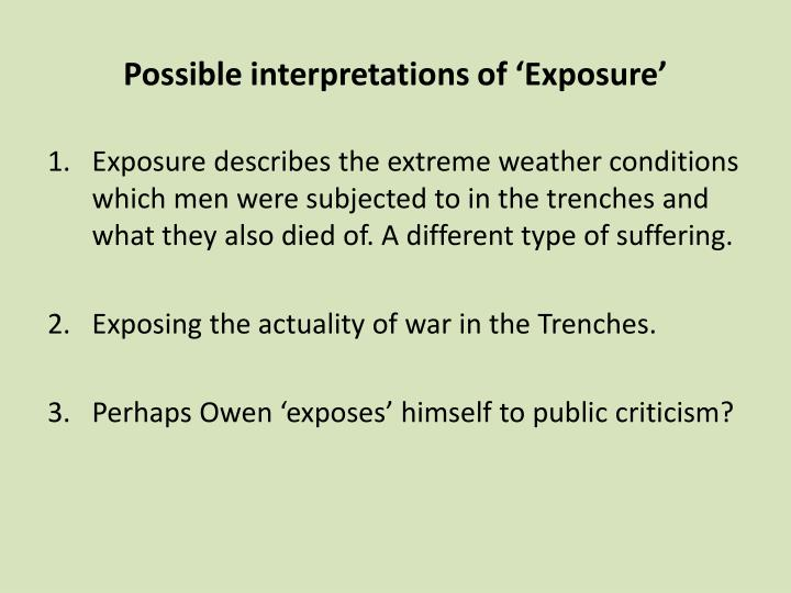 Possible interpretations of 'Exposure'