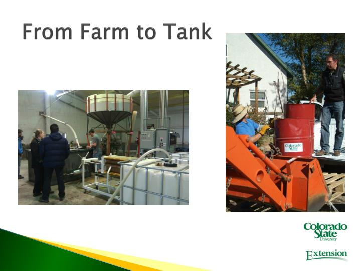 From Farm to Tank