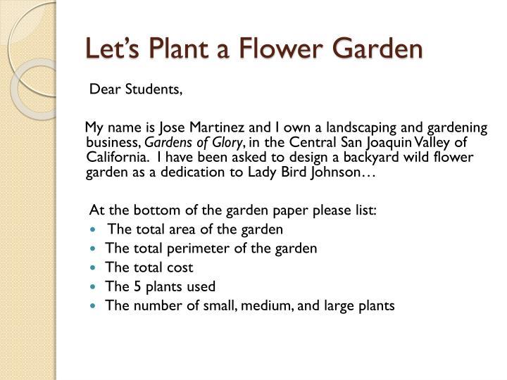 Let's Plant a Flower Garden