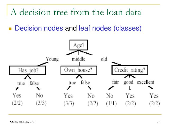A decision tree from the loan data