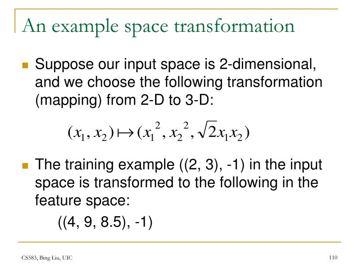 An example space transformation