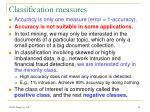 classification measures
