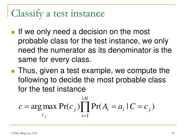 Classify a test instance